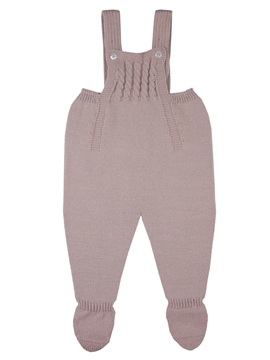 Pastel pink knit baby dungaree with braces m&h