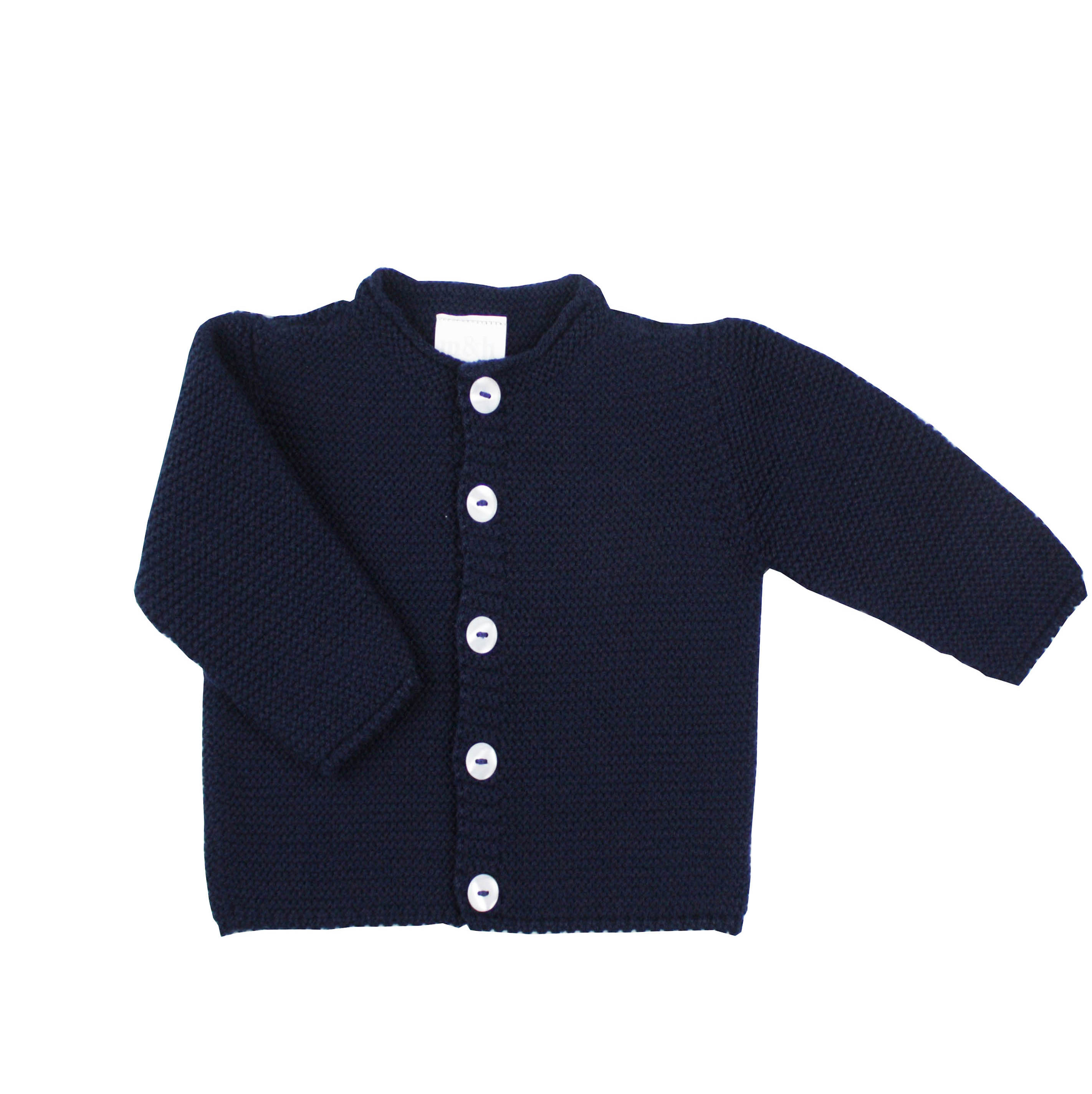 Long buttoned thick knit cardigan in navy blue  Made in