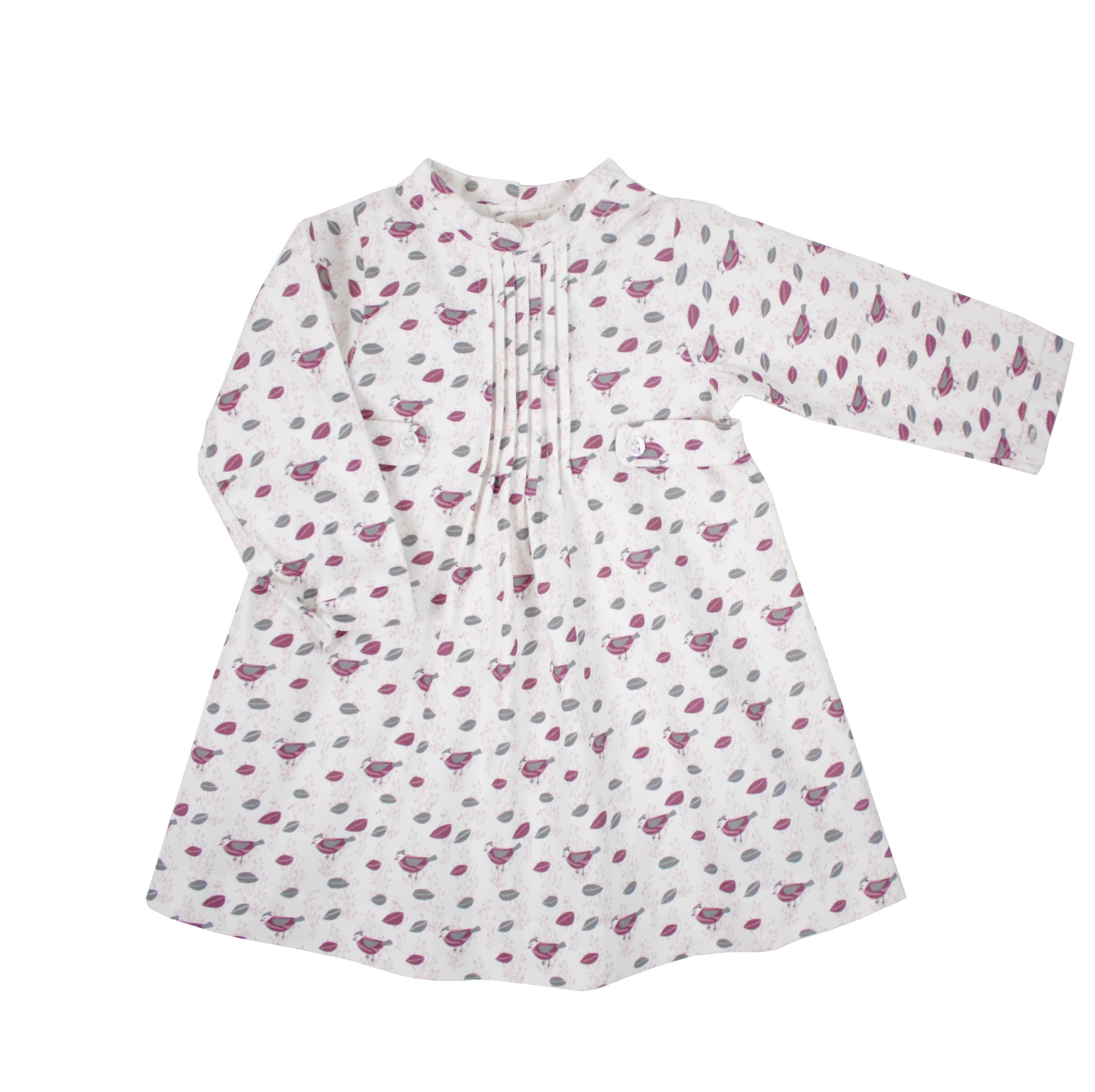 6f92ad82841 Girl dress long sleeve burgundy birds patterned. Lola dress