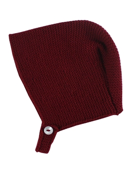 Burgundy baby knitted bonnet m&h