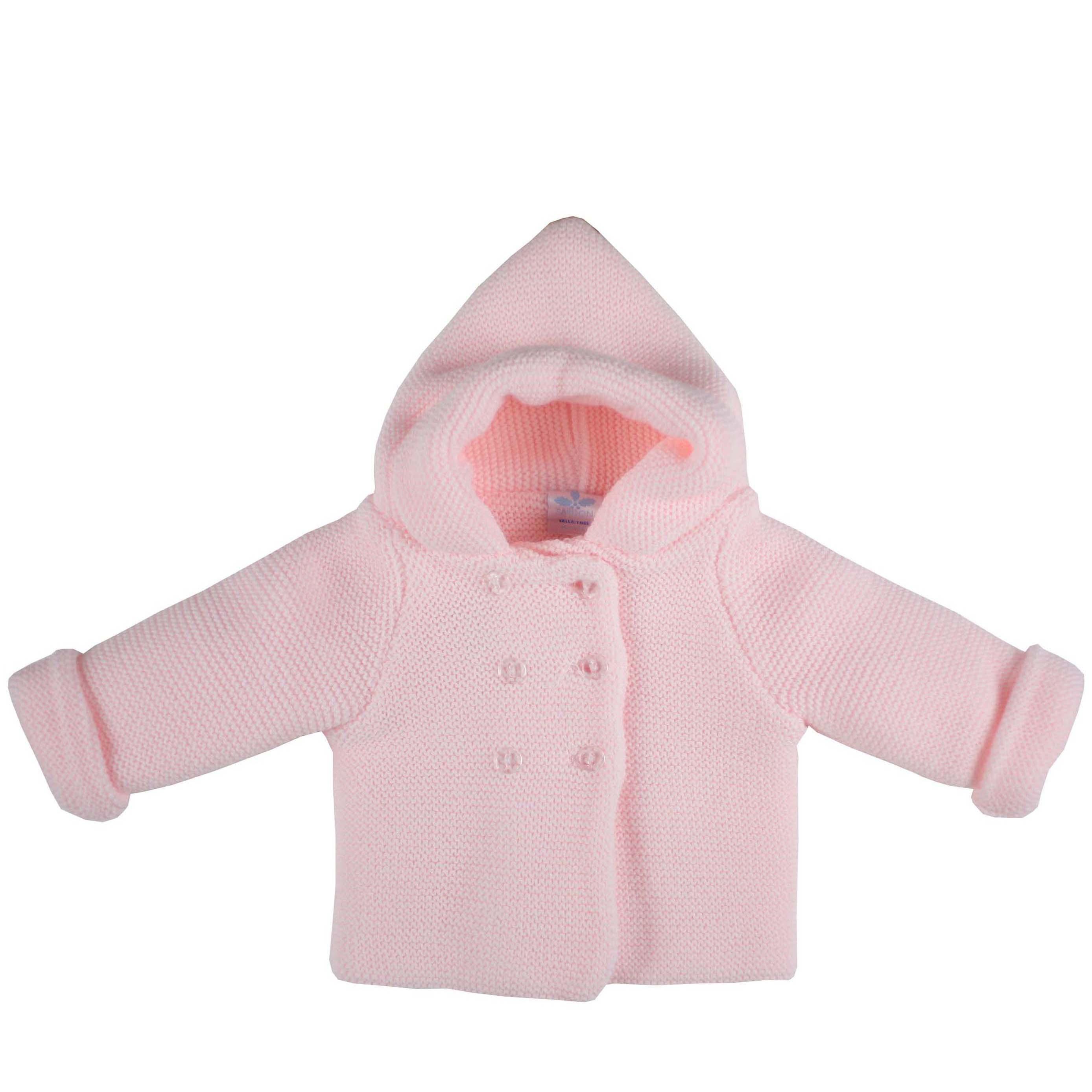 56718722a Abrigo punto bebe niña rosa con capucha