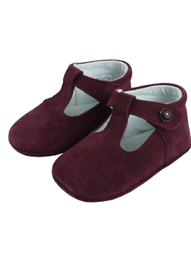 Baby shoes burgundy suede
