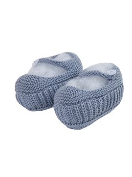 Medium blue Mary Jane baby knit shoes