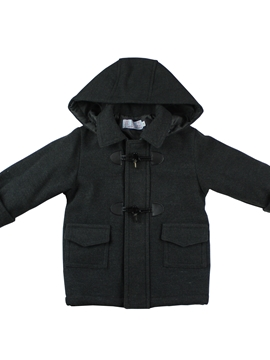 Dark grey duffle coat with hood