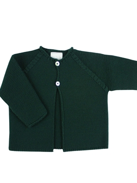 Dark green knitted baby cardigan m&h