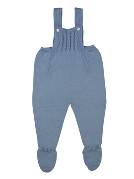 Medium blue knit baby dungaree with braces m&h
