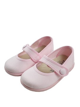 Pink canvas mary jane shoes with button