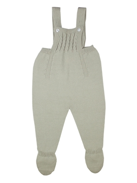 Beige knit baby dungaree with braces