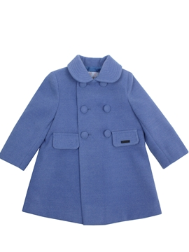 Medium blue coat with buttons