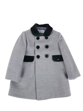 Grey and green coat with buttons