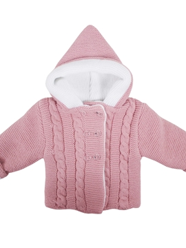 pastel pink hooded cable-knit baby cardigan