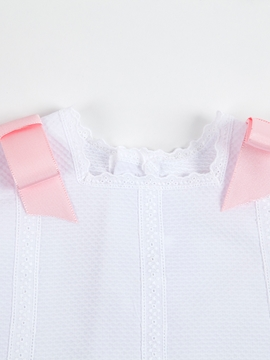 pink bows pique fabric dress