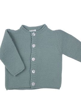 Knitted baby long cardigan in aquarelle green.