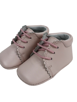 Pink boots soft leather baby shoes