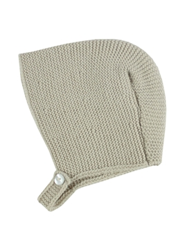 Beige knitted baby bonnet m&h