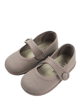 Beige canvas mary jane shoes with button
