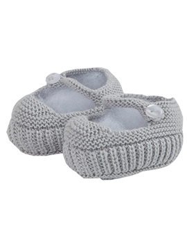 Grey Mary Jane baby knit shoes