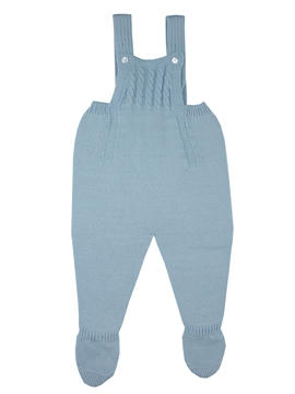 Blue knit baby dungaree with braces m&h