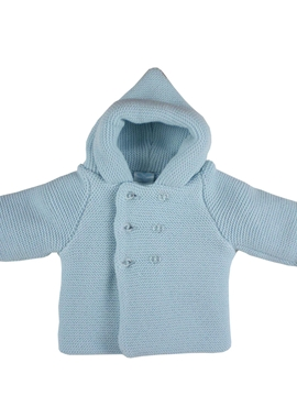Blue hooded cable-knit baby cardigan