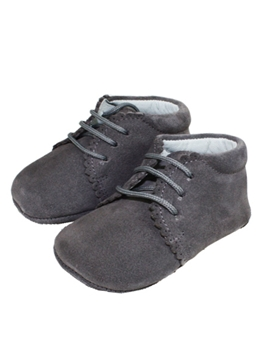 Pearl grey suede baby boot