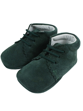 Green suede baby boot