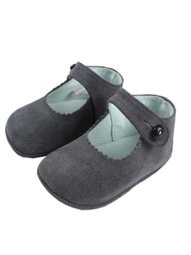 Baby plomo grey suede girl shoes