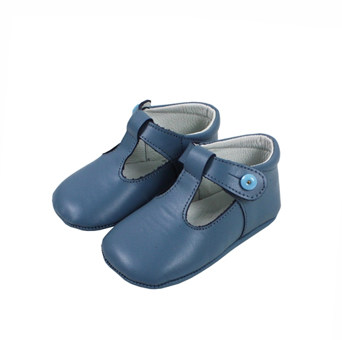 Soft leather baby shoes pepito medium blue
