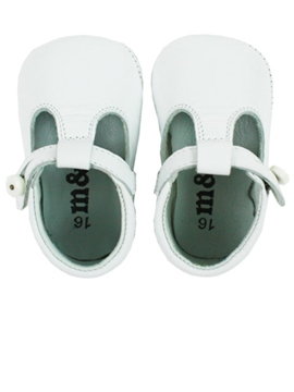 Soft leather baby shoes pepitos white