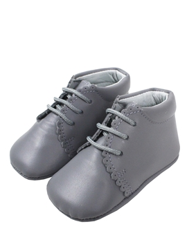 Grey boots soft leather baby shoes