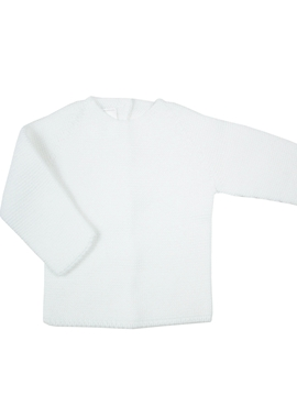 White thick knit sweater for babies