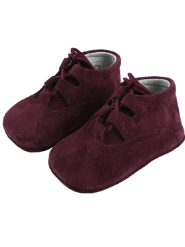 Lace up brogue suede shoes burgundy