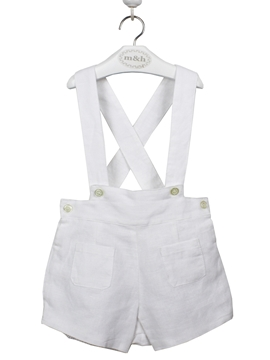 White short with braces. Linen fabric