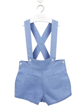 short braces linen medium blue