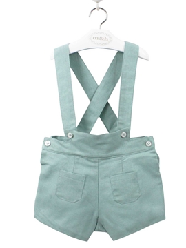 green braces linen short