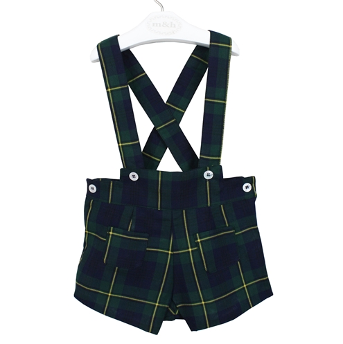 Short braces tartan green navy blue