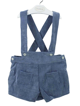 Medium blue corduroy short with braces