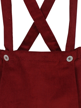 Bosco corduroy short with braces in burgundy