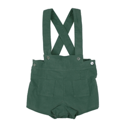 Toddler boy bermuda short with braces. Green corduroy