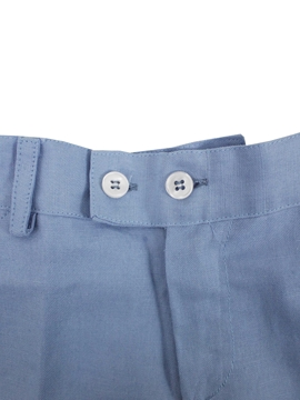 Short medium blue linen
