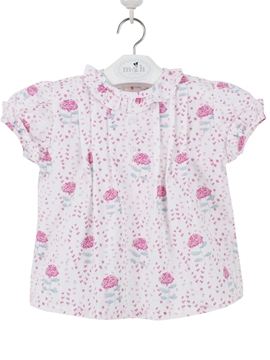 Pink flowers patter. Baby blouse