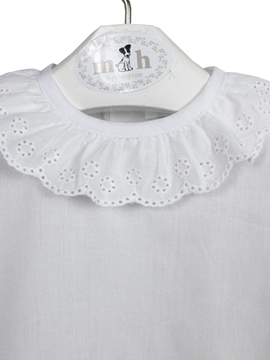 white batiste blouse short sleeve with buttons