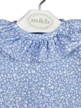 blue and white blouse leaves pattern