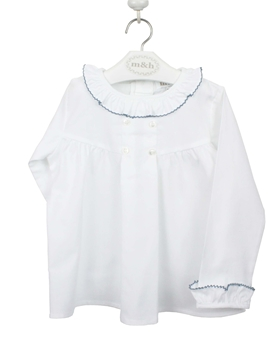 Buttoned blouse white and medium blue