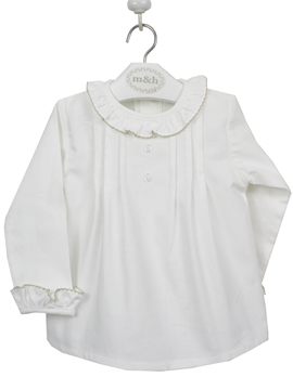 Two buttons blouse. Off white and sand lace