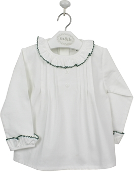 Two buttons blouse. Off white and dark green lace