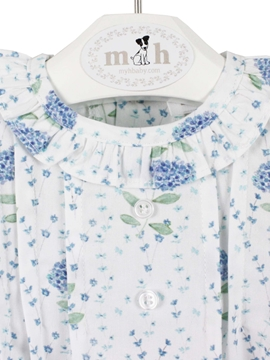 Blue flowers patter. Baby blouse