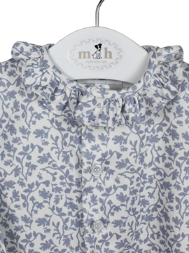 blue pattern blouse buttons