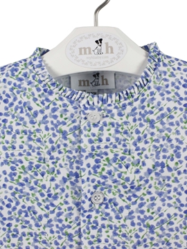 Blouse blue and green pattern