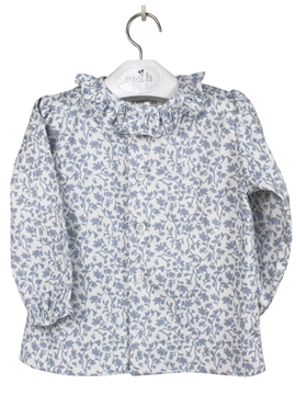 Blue leaves blouse buttons