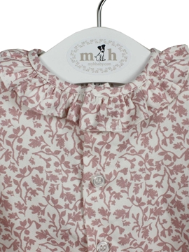 pink leaves pattern blouse
